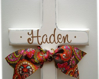 Hand painted childs personalized wooden wall cross with ribbon
