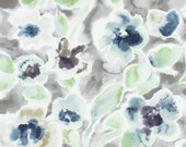 Abstract Floral Fabric - Cotton Drapery Fabric by the Yard - Modern Teal Grey Floral Upholstery Fabric