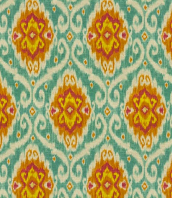 Teal Orange Upholstery Fabric Woven Teal Yellow Ikat Fabric - Designer upholstery fabric teal