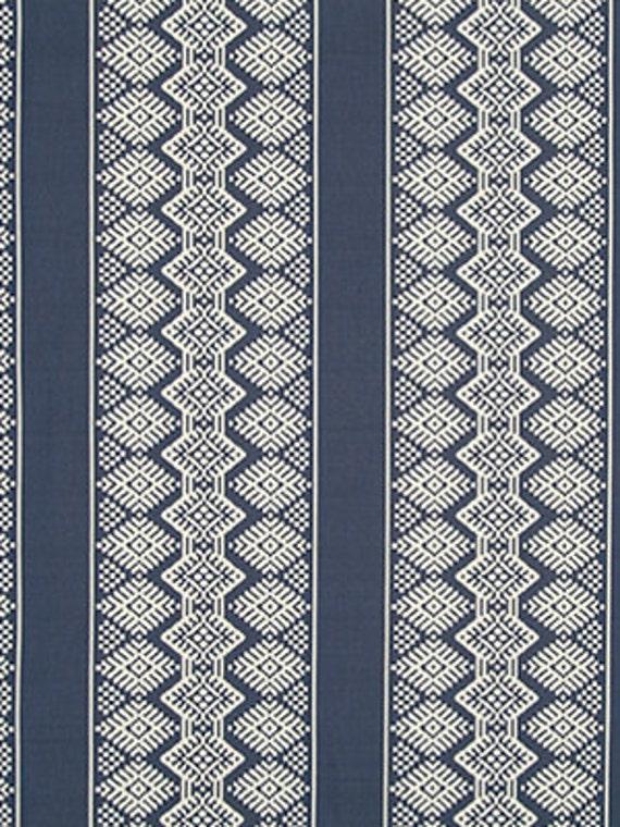 denim blue ikat upholstery fabric - stripe ikat for furniture