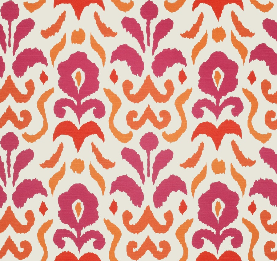 Hot Pink And Orange Ikat Upholstery And Drapery Fabric
