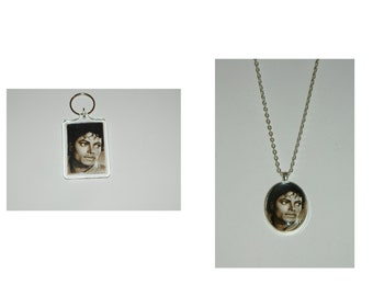 Michael Jackson Glass Pendant Necklace or Keychain
