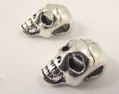 One (1) Large Pewter Skull Bead, Large Skull, Big Hole Bead, Antiqued Silver Skull Bead, Skeleton Bead
