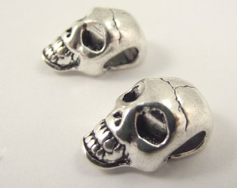 One (1) Large Pewter Skull Bead, Large Skull, Big Hole Bead, Antiqued Silver Skull Bead, Skeleton Bead
