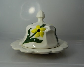 Vintage Ceramic Butter Dish Hand Made Cloche and Plate