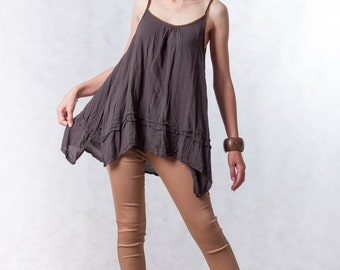 NO.120 Dark Brown Cotton Crochet Trim Camisole,  Pintuck Detail Top
