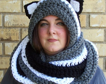 Crochet Pattern Hooded Scarf With Ears : Hooded scarf scoodie Etsy
