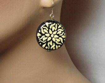 Gold on Black Geometric Pattern Earrings Vintage Button Style Earrings