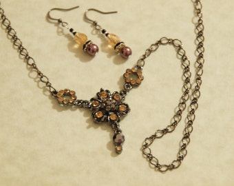 Autumn Flowers Necklace and Earring set
