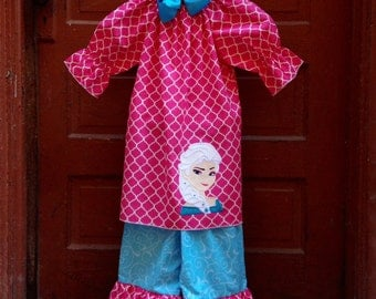 Frozen Princess Double Ruffle Pants and Peasant Top Outfit