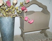 Upcycled Vintage Wood Magazine or Book  Rack / Holder / Stand, Hand Painted in Annie Sloan 'Coco' (taupe) Chalk Paint, Distressed and Shabby