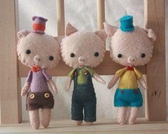 Three Little Pigs. Plush Doll. Animal Stuffed Doll. Softie. Gingermelon.