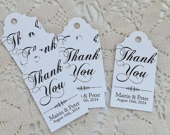 Black Tie - Wedding Favor Thank You Tags - Personalized - Bridal Shower - Baby Shower - Custom Quantities are Available WT013