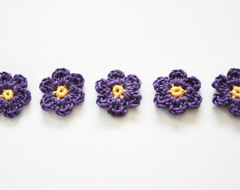 crochet flower, flower motif, purple flower applique, mini crochet flowers