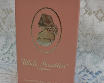 White Shoulders Perfume By Evyan Perfumes 1/6oz  Original Box With Plastic Sleeve Opened