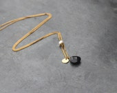 Black onyx drop necklace with white pearl / stone necklace for women / gold plated chain