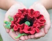 Red Poppy / Felt flower brooch / Wool Felt Jewelry / Felted flower with green leaves / shades red