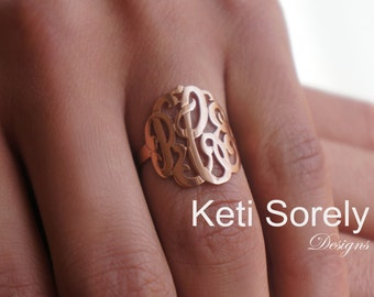 14K Gold Filled or Solid Gold Monogrammed Initials Ring with Your Personalized Initials -  10K, 14K or 18K Gold