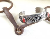 Sterling Silver Running Horses Cuff Bracelet, Coral Stones, Navajo Design, Stamped Wallace Yazzie, Jr., Horse Lover, Pony, Western Chic