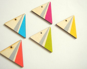 Neon Wood Triangles,Hand painted  Wood Pendants,Do it Yourself  necklace