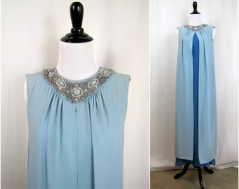 Vintage Dress | 1960s | Blue Crepe Gown with Beaded Collar  | Small