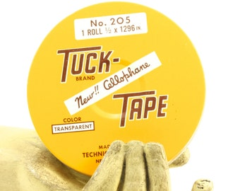 Tuck-Tape Transparent Cellophane Office Tape Tin - Yellow and Brown