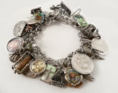 Vintage 60s 70s Sterling Silver Charm Bracelet West Travel Mother Gemini Joan 32 charms
