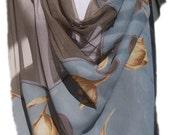 Gray chiffon tulle shawl/ Chic and unique shawl/Freeshipping/Tulip shawl/Dotted shawl/Wedding shawl/Bridal shawl/Shawl and scarf store/Chic