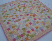 CLEARANCE - Postage Stamp Quilt or Wall Hanging for Baby or Toddler Girl in Pink, Yellow, Orange, Green, Gray, and Cream Colors