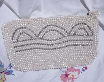 Vintage Evening Bag 1950s Pearl & Beaded w/ Scallops Wedding