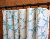 Curtains Designer Curtain Panels 24W or 50W x 63, 84, 90, 96 or 108L Sea Friends Coastal Blue White shown