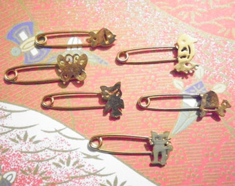 12 Assorted Goldplated Animal Safety Pins