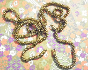 "2 Vintage Brass 16"" Serpentine Mesh Chains"