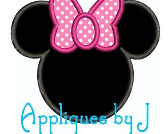 Minnie Applique Machine Embroidery Design Fits 4x4 Hoop