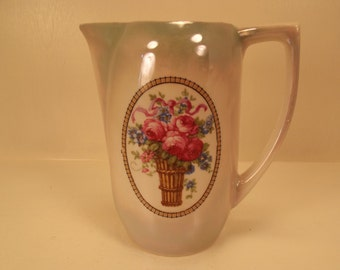 Antique BAVARIAN MADE Rose Covered PITCHER