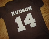 Custom PERSONALIZED Brown Football Onesie - White or Pink Option -  Fall - Sports