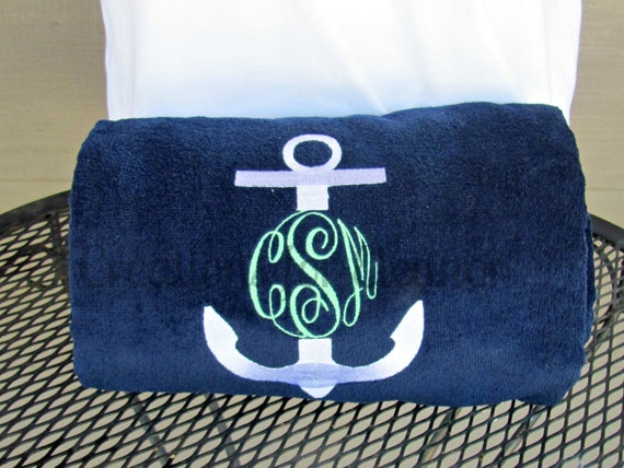 Monogrammed Beach Towel Personalized Beach Towel Anchor