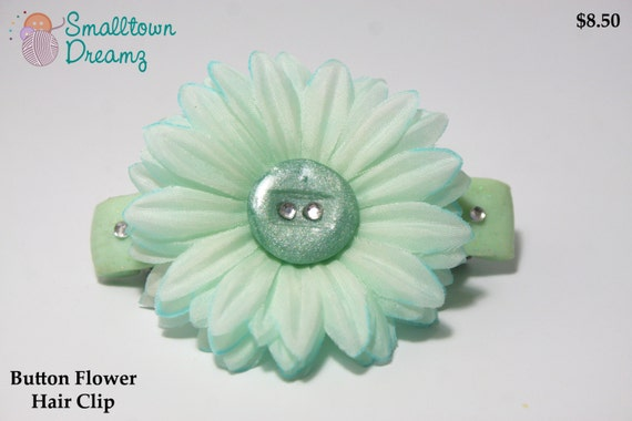 Handmade Sea Green Polymer Clay  Button Flower Hair Clip
