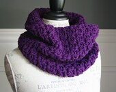 PLUM Purple Cowl Scarf with wooden button, crocheted