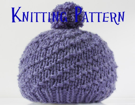 Knitting Pattern For Child s Bobble Hat : PDF Knitting Pattern Spiral Bobble Hat Beanie Knitting