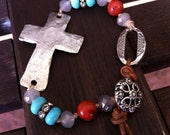 Boho Knotted Bead and Leather Bracelet Cuff with Pewter Cross