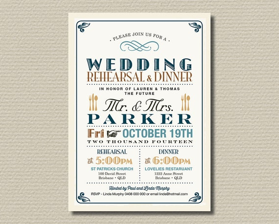 Printable Wedding Rehearsal and Dinner Invitation - Vintage Poster design in Teal, Brown & Burlap (RD19)