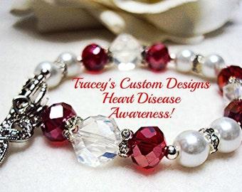 Beautiful HEART DISEASE AWARENESS Bracelet - Custom made designs.
