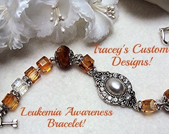 Stunning LEUKEMIA AWARENESS BRACELET - Custom made design.