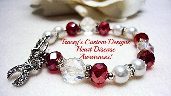 Beautiful Heart Disease Awareness Bracelet Custom Made