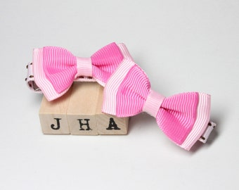 Baby hair clip Ribbon double bow clip - Pink