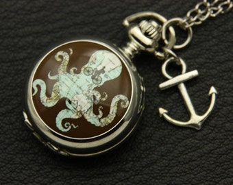 Necklace Pocket watch octopus 2222M