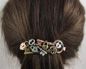 Steampunk Locks and Keys French Barrette 80mm- Hair Accessories- Hair Clips- Steampunk- Lock and Key Jewelry