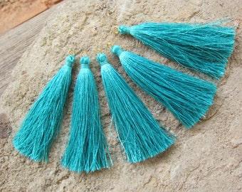 """Bahama Teal Silk Tassels Jewelry supplies Craft supplies Long tassels Handmade tassels Jewelry tassels Mala Tassel 8cm tassel 3"""" tassels"""