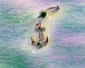 Belly Ring, Tibetan Silver Steampunk Nautical Ship Anchor with Turquoise Green Crystals, Belly Button Jewelry For Women and Teens